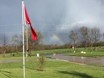 Sikt för främre farstubro av regnbågen Arkivfoto