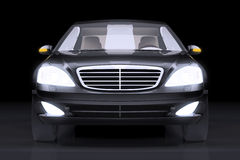 Sikt för främre sida på den svarta prestigebilen Arkivfoton