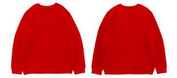 Sikt för framdel och för baksida för mall för tom tröjafärg röd arkivbild
