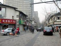 sikt för gata för höstporslinhangzhou säsong Arkivbild