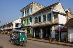 sikt för gata för laos luangphabang Arkivbilder