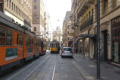 Sikt för gata för Milano stadsmitt Royaltyfri Foto