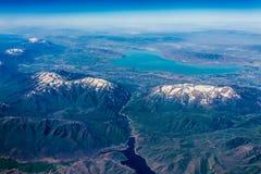 Sikt för hög höjd av Utah sjön nära Provo, Utah Royaltyfria Foton