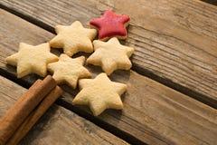 Sikt för hög vinkel av julgranen som göras med stjärnaformkakor och kanelbruna pinnar royaltyfri bild