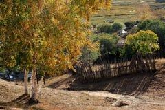 sikt för höstdagInner Mongolia plats Fotografering för Bildbyråer