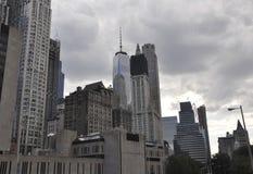Sikt för hastighetsuniversitetbyggnad och Freedom Tower i Lower Manhattan från New York City i Förenta staterna Fotografering för Bildbyråer