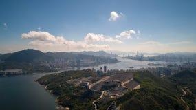 Sikt för Hong Kong Chinese Permanent Cemetery horisontsurr royaltyfri foto