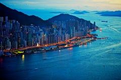Sikt för Hong Kong hamnnatt Arkivbild