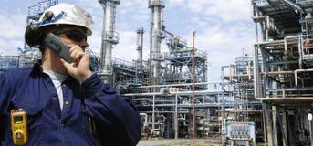 sikt för inustry olja för gas panorama- Arkivfoto
