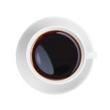 Sikt för kopp för vitt kaffe isolerad övre Royaltyfri Fotografi