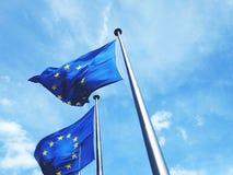 Sikt för låg vinkel av europeiska fackliga flaggor Royaltyfri Foto