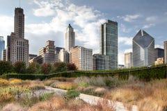 Sikt för låg vinkel av skyskrapor i en stad, Chicago, kock County, I Arkivfoto