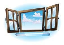 Sikt för landskap för fönster för tecknad filmvektorillustration öppen stock illustrationer