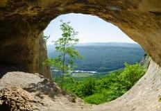 Sikt för landskap för panoramaberggräsplan från Ñ-aven på överkanten av de Kaukasus bergen Fotografering för Bildbyråer