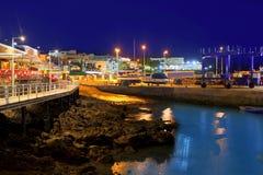 Sikt för Lanzarote Puerto del Spårvagnsförare hamnnatt Fotografering för Bildbyråer
