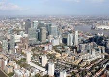 Sikt för London hamnkvarterhorisont från över Royaltyfria Bilder