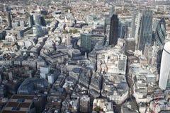 Sikt för London stadshorisont från över Arkivfoton