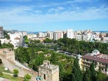 Sikt för Malaga stadshusträdgårdar (Spanien) Fotografering för Bildbyråer