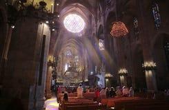 Sikt för mass för Palma de MallorcaÂs domkyrkamorgon bred royaltyfria foton
