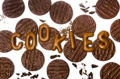 Sikt för modell för chokladkexbakgrund bästa royaltyfri fotografi