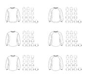 Sikt för modeller för vektor för tröjamall olik, framdel- och baksida Fotografering för Bildbyråer
