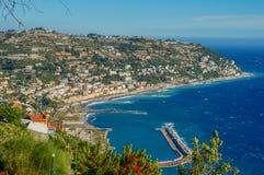 Sikt för Monaco landskap uppifrån arkivbild