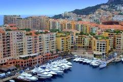 Sikt för Monaco marinafjärd Arkivbilder