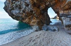 Sikt för Mylopotamos strandsommar (Grekland) Arkivbild