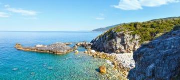 Sikt för Mylopotamos strandsommar (Grekland) Royaltyfri Foto