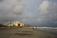 Sikt för Myrtle Beach stadsstrand, South Carolina, USA arkivfoto