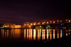 sikt för natt för stadsexponering lång Arkivfoto