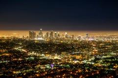 Sikt för natt för Los Angeles LAstad från Griffith Observatory royaltyfri bild