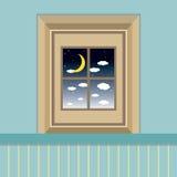 Sikt för natthimmel till och med fönstret Fotografering för Bildbyråer