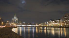 sikt för nattstadsMoskva Royaltyfri Fotografi