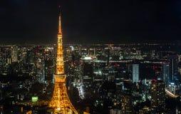sikt för natttokyo torn Royaltyfri Bild
