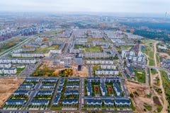 Sikt för nya hus från ovannämnda Litauen Arkivbilder