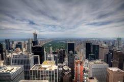 Sikt för panorama för New York City Manhattan midtown flyg- med skyscr Fotografering för Bildbyråer