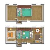 sikt för plan för golv 3d övre Royaltyfri Foto
