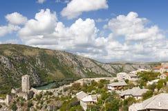 sikt för pocitelj för Bosnienherzego pittoresk Arkivfoto