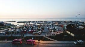 Sikt för port för Yalova kalkonsolnedgång Fotografering för Bildbyråer