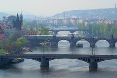 Sikt för Prague broantenn Arkivfoto