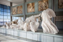 sikt för rätsida för acropolisathens museum royaltyfri fotografi