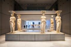 sikt för rätsida för acropolisathens museum arkivbild