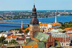 Sikt för Riga panoramastad royaltyfria foton