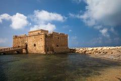 Sikt för sen eftermiddag av den Paphos slotten Royaltyfria Foton