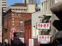 Sikt för sen eftermiddag av kineskvarterbyggnader i San Francisco, Kalifornien arkivbild