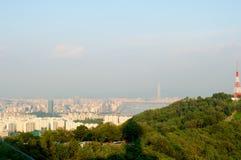 Sikt för Seoul stadsgata från överkant i sommar Royaltyfria Bilder