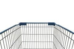 Sikt för shoppingvagn i supermarket på vit bakgrund Arkivfoton