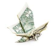 Sikt för sida för dollarorigami fjäril isolerad Royaltyfri Bild