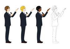 Sikt för sida för mikrofon för fastställd stilig presentation för affärsman hållande Full kroppvektorillustration Royaltyfria Bilder